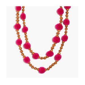 J CREW Pom Pom & Beads Necklace Vibrant Fuchsia
